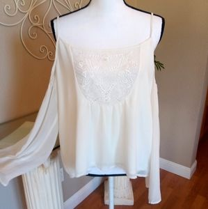 Lovers + Friends Tops - Lovers + Friends Embroidered Cold Shoulder Top